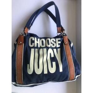 'Choose Juicy' Navy Blue and Silver tote